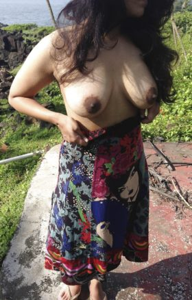 busty babe nude outdoors