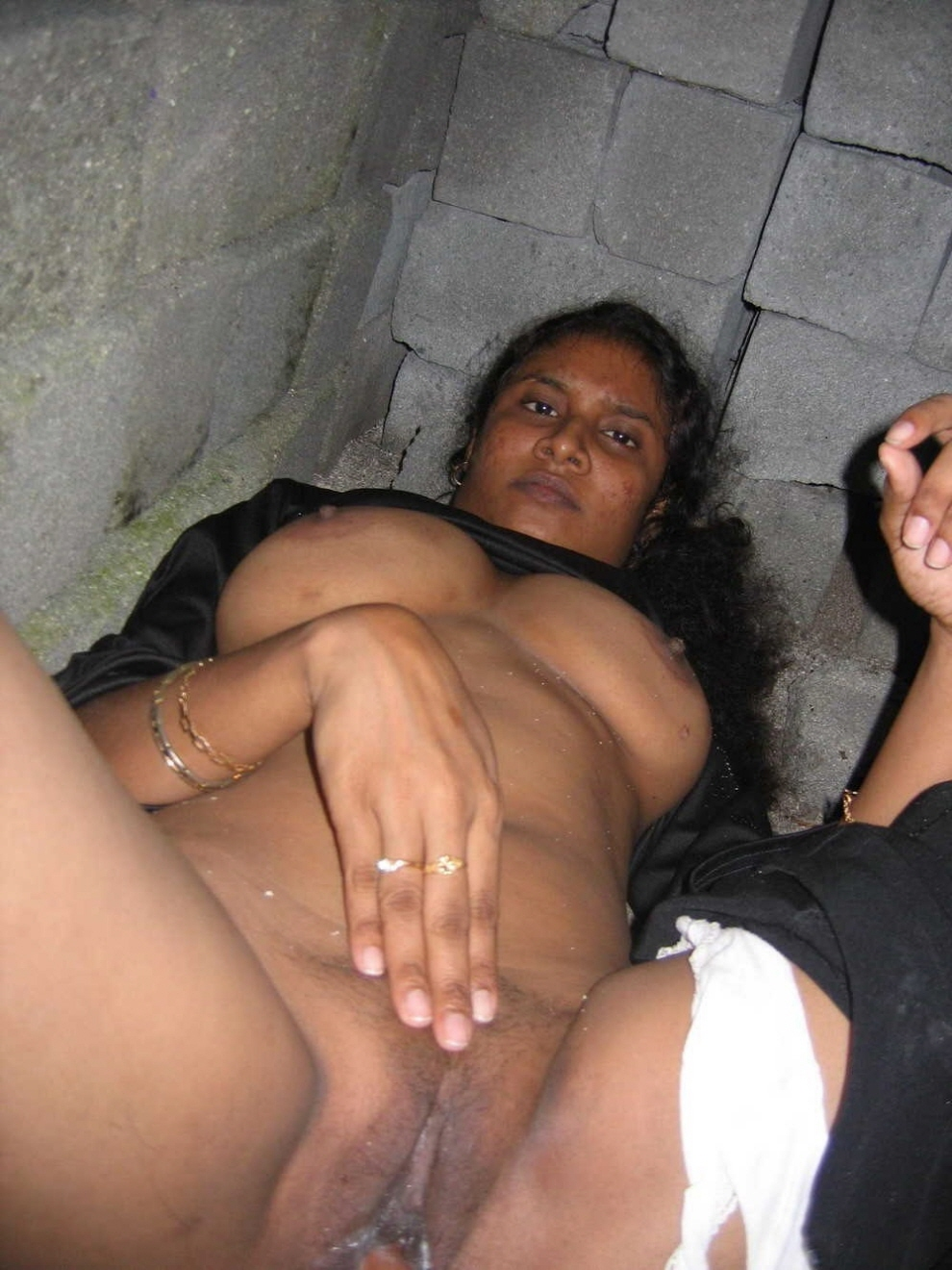 Black and horny with gaping pussy