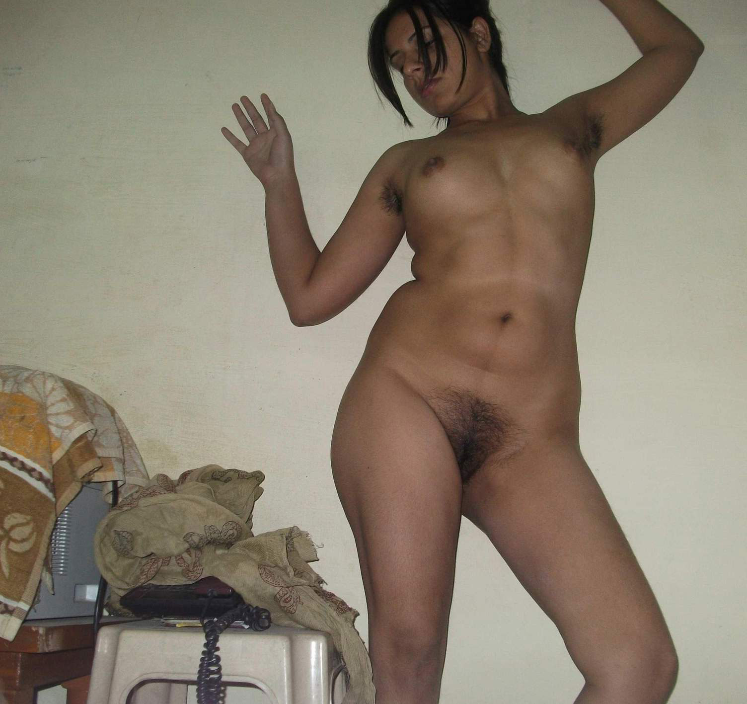 Nude in front dad